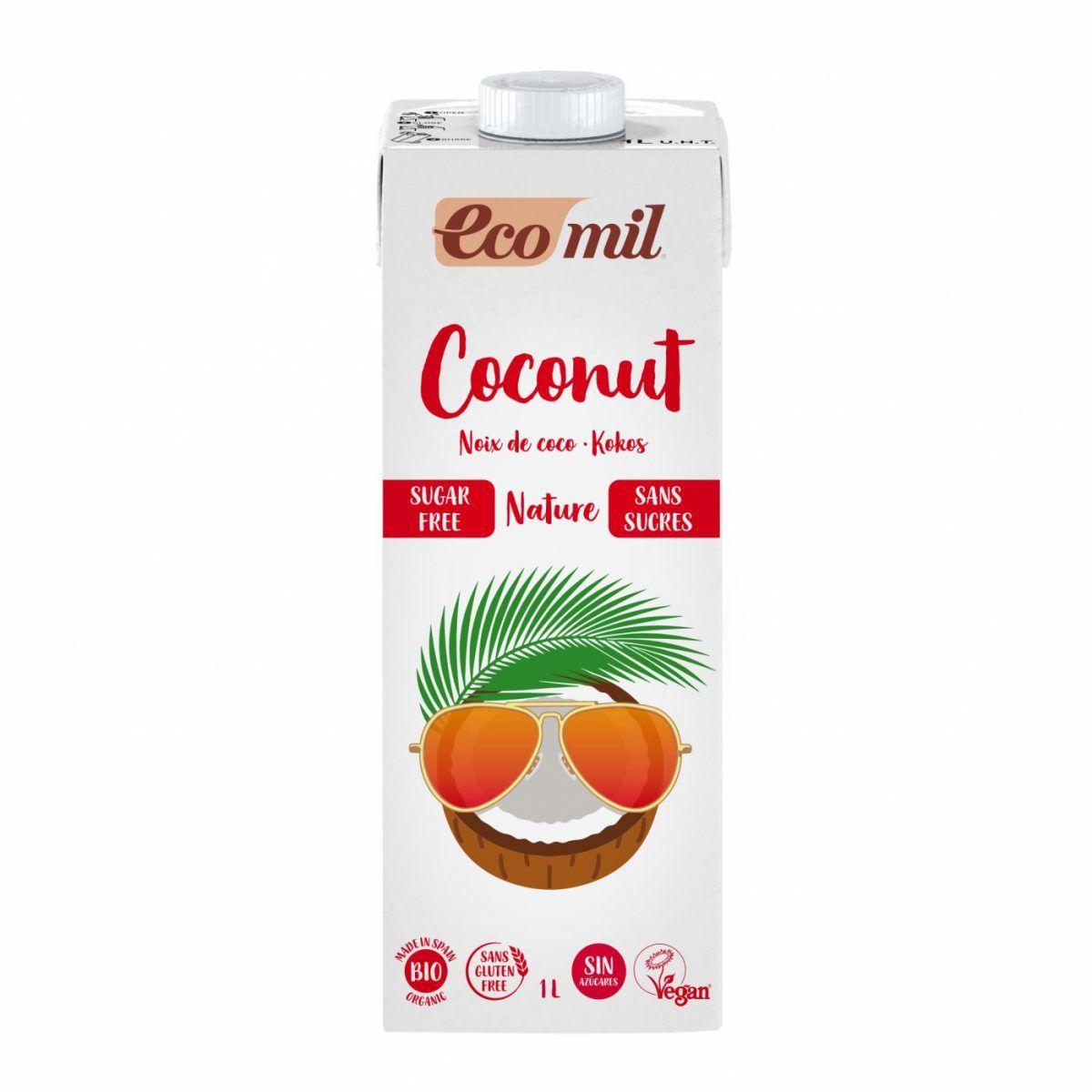 Bebida vegetal de coco sin azúcar, sin gluten y sin lactosa EcoMil 1 L