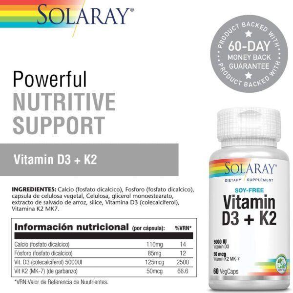 Vitamina D3 + k2 solaray sistema inmune huesos descripción